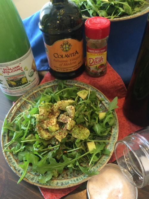 Arugula & Avocado Salad with Balsamic Citrus Drizzle~~The Crispy Cupboard